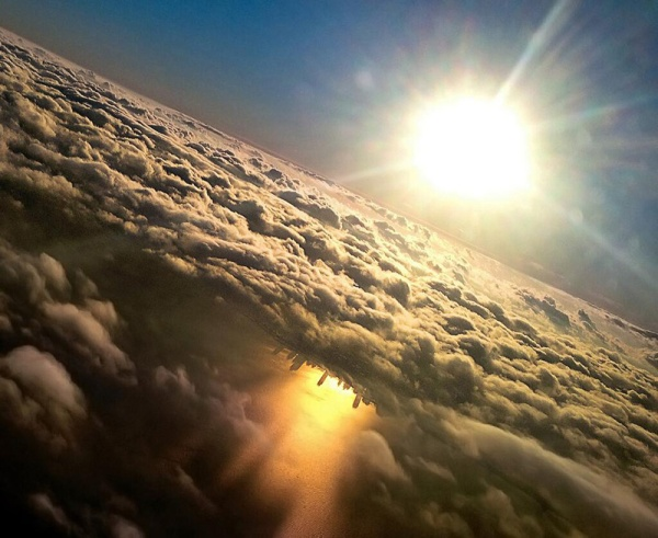 Chicago Reflected in Lake Michigan from an Airplane by Mark Hersch
